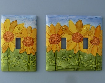 Sunflowers - Choose Your Style Switch Plate, Painted with Alcohol Ink