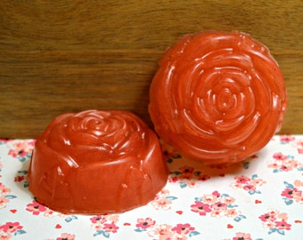 Vegan Rose Water Soap **Coconut Oil & Rose Water Glycerin Soap - Delicate Rose Design**