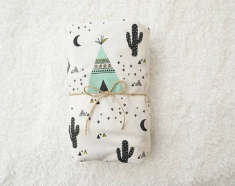 Crib Sheet | Gender Neutral Bedding | Mint Crib Sheet | Teepee Tribal Nursery | Native American | Standard or Mini Crib Sheet | Changing Pad