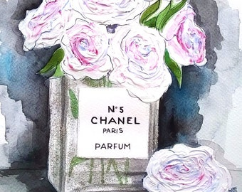 ORIGINAL fashion illustration-Chanel vase
