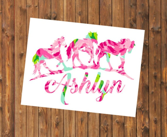 Free Shipping-Monogram Decal, Lilly Pulitzer Decal, Horse Decal, Lucky Horseshoe, Cowgirl, Cowboy, Yeti, Laptop, Monogram Sticker, Last Name