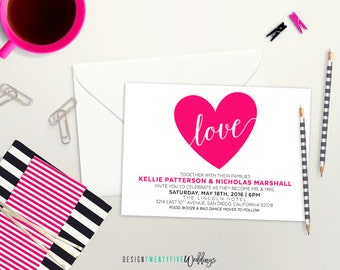 Modern Pink Wedding Invitation Suite // 5x7 Invitation // Choose Your Set! // The Kellie Collection