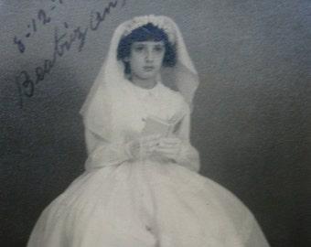 Vintage Communion photography.Communion ceremony.Ephemera.Collectible.To frame.Catholic photo.Gift.Communion dress.Black and white. 1950s