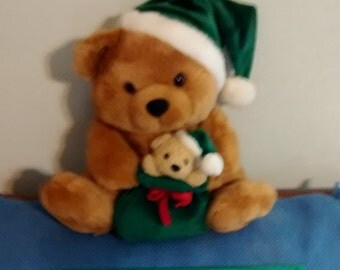 Christmas Teddy Bears in Green Holiday Decor Santa Toy Stuffed Animal Plush