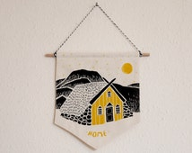 Yellow House Wall Banner,  Wall Hanging, Pennant, Wall Art, Tapestry, Home Decor