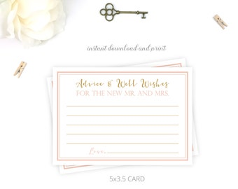 Blush/Gold Printable Advice Well Wishes Mr and Mrs Card | Classic | Brooke Collection | Custom Colors Available