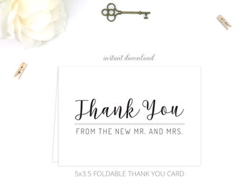 Printable Wedding Thank You Cards (Folded) | Thank You from new Mr. and Mrs.  | Instant Download | 5x3.5 | DIY Printable/Digital File | r006