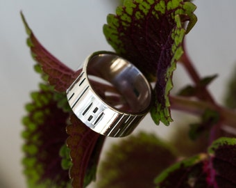 Vintage Textured Sterling Silver Wide Band Sterling Silver Ring