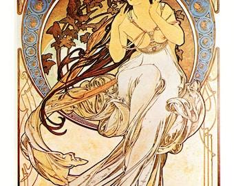 Alphonse MUCHA 1976 Authentic Vintage Art Nouveau PRINT 1898 La MUSIQUE