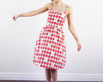 Vintage 1960s Strawberry LANZ Sweetheart Sundress / Novelty Print / Small / XS/S
