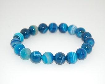 Blue Agate Bracelet,Gemstone 8mm Round Beads Elastic Bracelet Fit All, Gemstone Stretch Bracelet, Mens or Womens, Beaded Jewelry