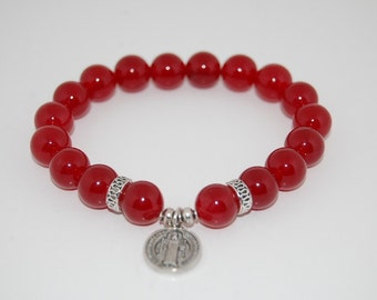 St Benedict Bracelet,Burgundy Agate Gemstone,10mm Round Beads,Elastic Bracelet,Fit All, Gemstone,Stretch Bracelet, Men,Women,Pray