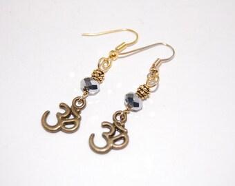 Om Bronze Earrings, Bronze Charm,Beaded Earrings,Drop Earrings ,Dangle Earings ,Boho Jewelry ,Woman Earrgins,Girl,Chic,Gift For Her
