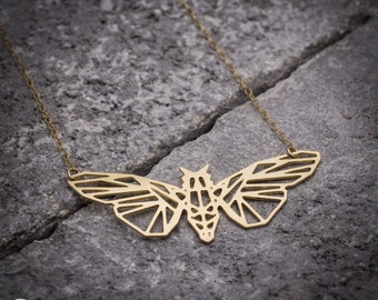 Moth necklace, butterfly necklace, animal necklace, gold necklace, geometric necklace, everyday necklace, unique necklace, gift for her