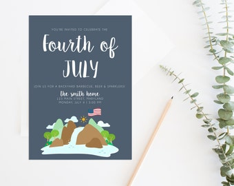 Printable Fourth of July Invitation, 4th of July BBQ, Fourth of July Invitation, July 4th Invite, 4th of July Party