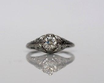 "Circa 1930 - .50ct Old European Cut Diamond Engagement Ring in 18K White Gold, By ""BELAIS"" - VEG#462"