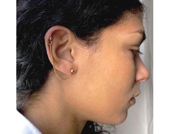 Double Piercing Earring, Gold Plated Brass