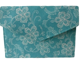 Turquoise Blue and White Flowers  Floral Lace Print Fold Over Magnetic Fastener Slimline Envelope Clutch Bag