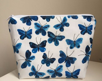 Blue Butterfly Cosmetic Bag