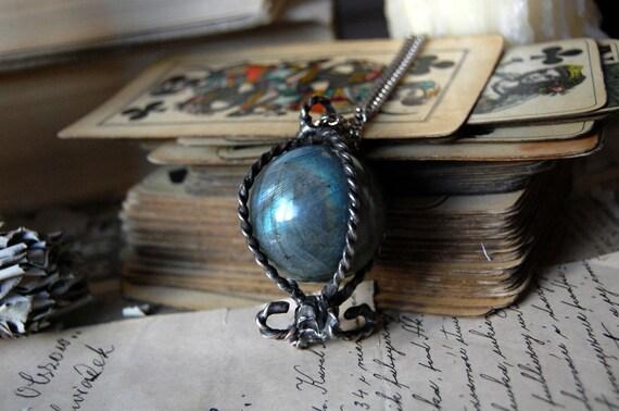 Crystal ball necklace, LABRADORITE necklace, shaman necklace, balloon necklace , silver tin, cage necklace, chandelier necklace, divination