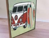 Retro Surf wood print. Surfing VW Van home decor wall art. Surfing print. Surfing poster. Surfer baby decor. Retro art print. Surf board.
