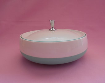 Retro 1960's Space Age Marquis Thermo Bowl & Lid in Turquoise and White  #10022