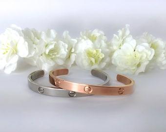 Love Bracelet , Cuff Bangle , Silver/Rose Gold Screws Bracelet