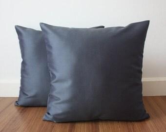 "Set of 2 - 18"" x 18"" Lead Gray Silk Throw Pillow Cover, Pillowcase /109"