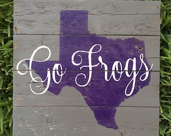 Texas Christian University TCU Horned Frogs - Fort Worth, Texas Wood Sign - Any state/team/school!