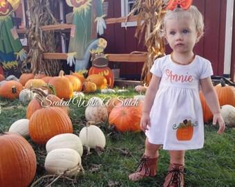 Fall Pumpkin Dress - Monogrammed Dress