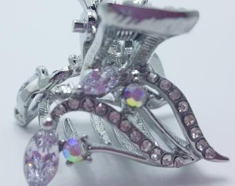 New Silver  CZ Crystal & Rhinestone  3/4'' Hair Claw Clip