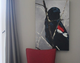 Original Red-wing Blackbird acrylic pallet knife painting