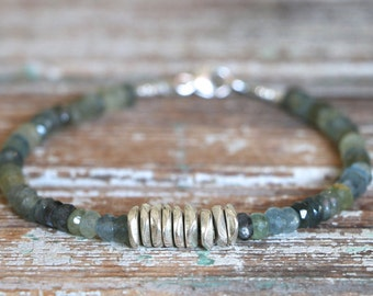 Aquamarine Bracelet Beaded Bracelet March Birthstone Moss Aquamarine Bracelet