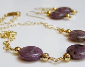 Purple Necklace and Earrings - Purple Lepidolite with 14K Gold Fill, Purple Stone / Gemstone Necklace Set with 14K GF, Purple and Gold