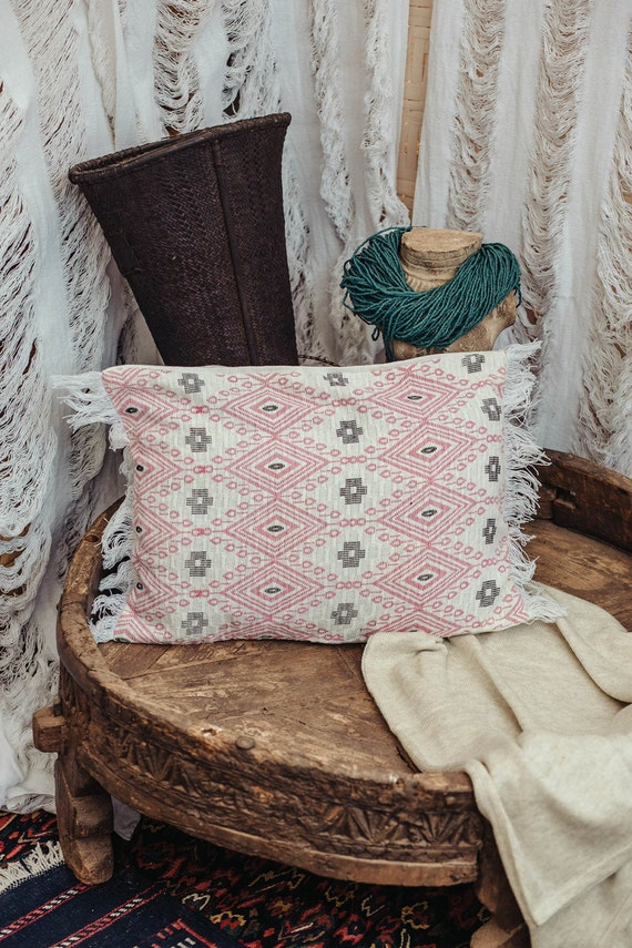 Boho Throw Pillow Cover in Pink White 12x18 Rectangle Pillow