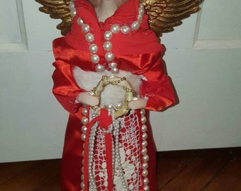 Red and White Angel Tree Topper