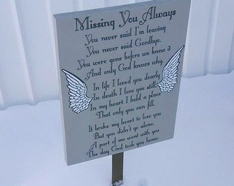 Angel Memorial Sign, Missing You Always, Memorial Outdoor Sign, Grave Marker, Family Grave, Family Memorial, Memorial Art, Grave Decor,
