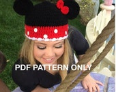 Crochet Minnie Mouse Beanie - PATTERN ONLY - Crochet - Size Newborn to Adult