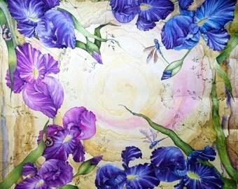 """Silk shawl """" Irises""""/Hand painted"""
