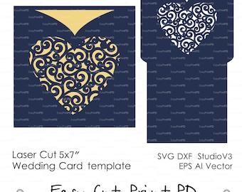 Envelope lace swirl heart wedding card Invitation template ( svg, dxf, ai, eps, png) laser cut pattern Stencils Digital Download