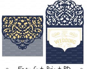 Wedding Luxury Envelope Card Template ornamental swirl cutting file C119 (svg, dxf, ai, eps, png, pdf) ornate laser cut arabesque