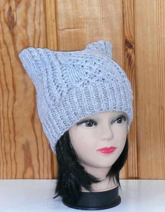 Cat Ear Hat Knit Cat Ear Hat Cat Beanie Womens by NataKnitwork