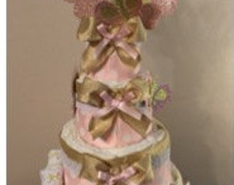 Pink and Gold Diaper Cake with butterflies (a surprise bonus inside)