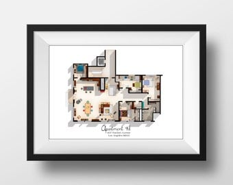 How i met your mother apartment famous tv show floor plan for Gossip girl apartment floor plans