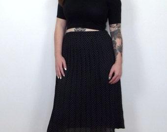 Vintage 1980s black and white polka dot pleated midi skirt, elasticated waist, UK size 12-14