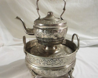 Vintage Moroccan Hand Washing Basin and Kettle/Ewer Hand Hammered in Fez Morocco