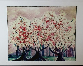"""Watercolor Greeting Cards  """"Blossoms"""" 5X7  Cherry Blossom Trees"""