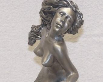 Nude Pewter Mermaid Sculpture by Artist Loria Follett
