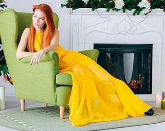 Yellow prom dress, long prom dress, evening yellow dress, prom long dress, maxi dress, maxi yellow dress