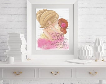 Blonde Hair Mother and Red Hair Daughter Art - Girl's Room, Nursery, Wall Art Print Gift